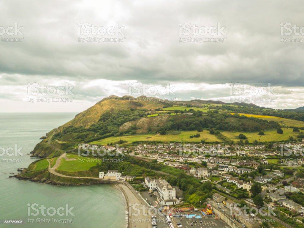 Aerial view of Bray Head, Bray, Co. Wicklow, Ireland. stock photo