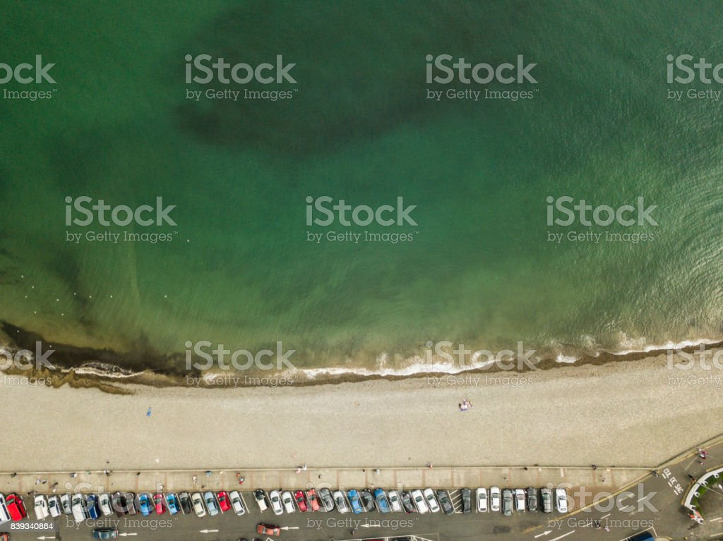 Aerial view of Bray seafront, Bray, co. Wicklow, Ireland. stock photo
