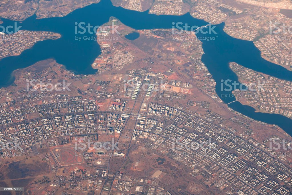 Aerial view of brazilian Capital Brasilia in the heart of Brazil stock photo
