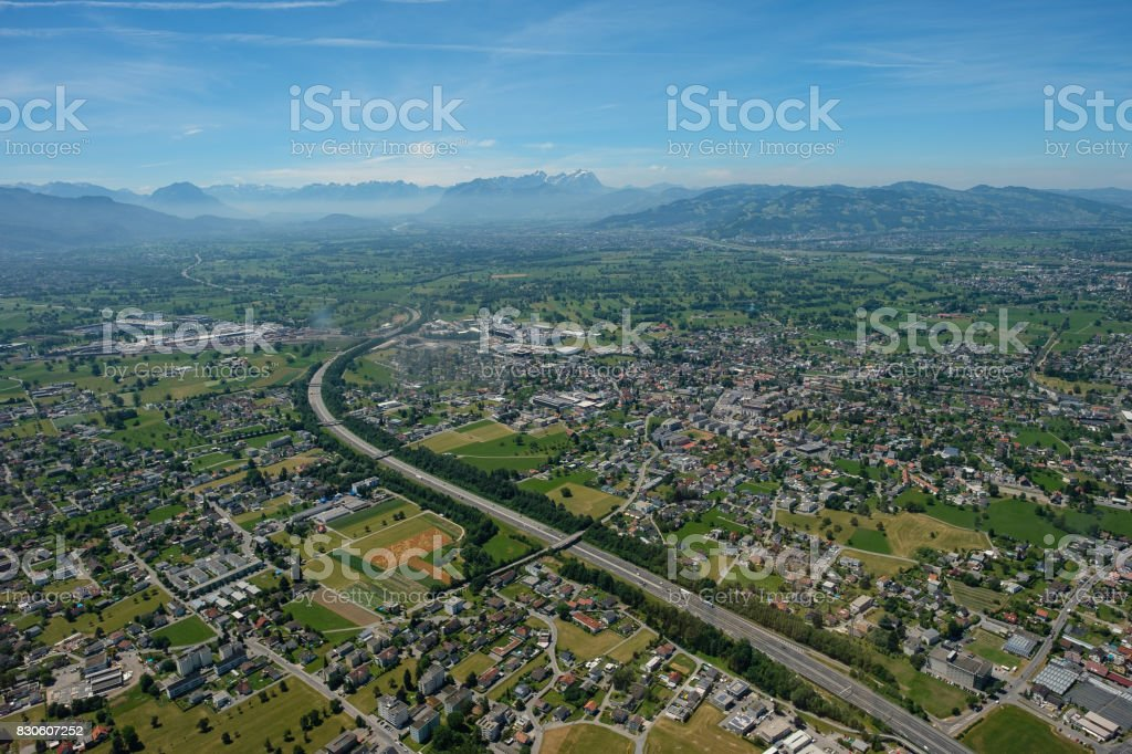 Aerial view of Bregenz, Dornbirn and Hard with Säntis mountain stock photo
