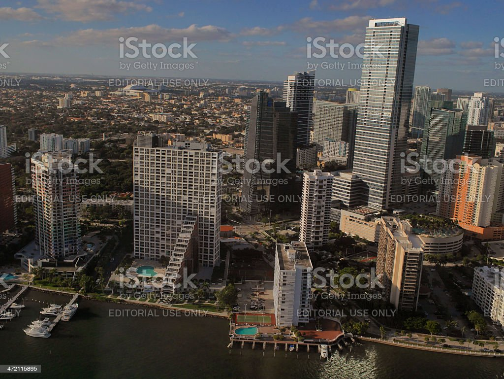 Aerial view of Brickel, the southern tip in downtown Miami. stock photo