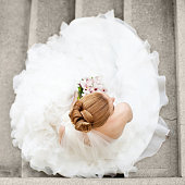 Bride in wedding dress siting on the stairs and holding bridal bouquet \n\nmore Wedding's, click on the image below for lightbox\n[url=http://www.istockphoto.com/search/lightbox/13244944#1460c289][img]http://i76.photobucket.com/albums/j25/Momcilog/banner/foreveryours.jpg[/img][/url]
