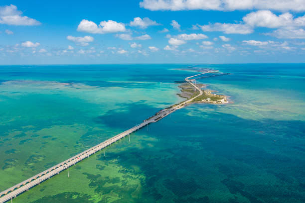 Aerial view of bridge and islands in sea, Key West, Florida, USA stock photo