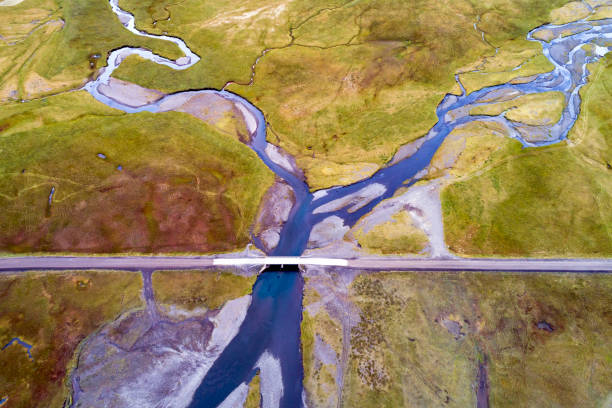 Aerial View of Bridge over Braided River in Iceland stock photo