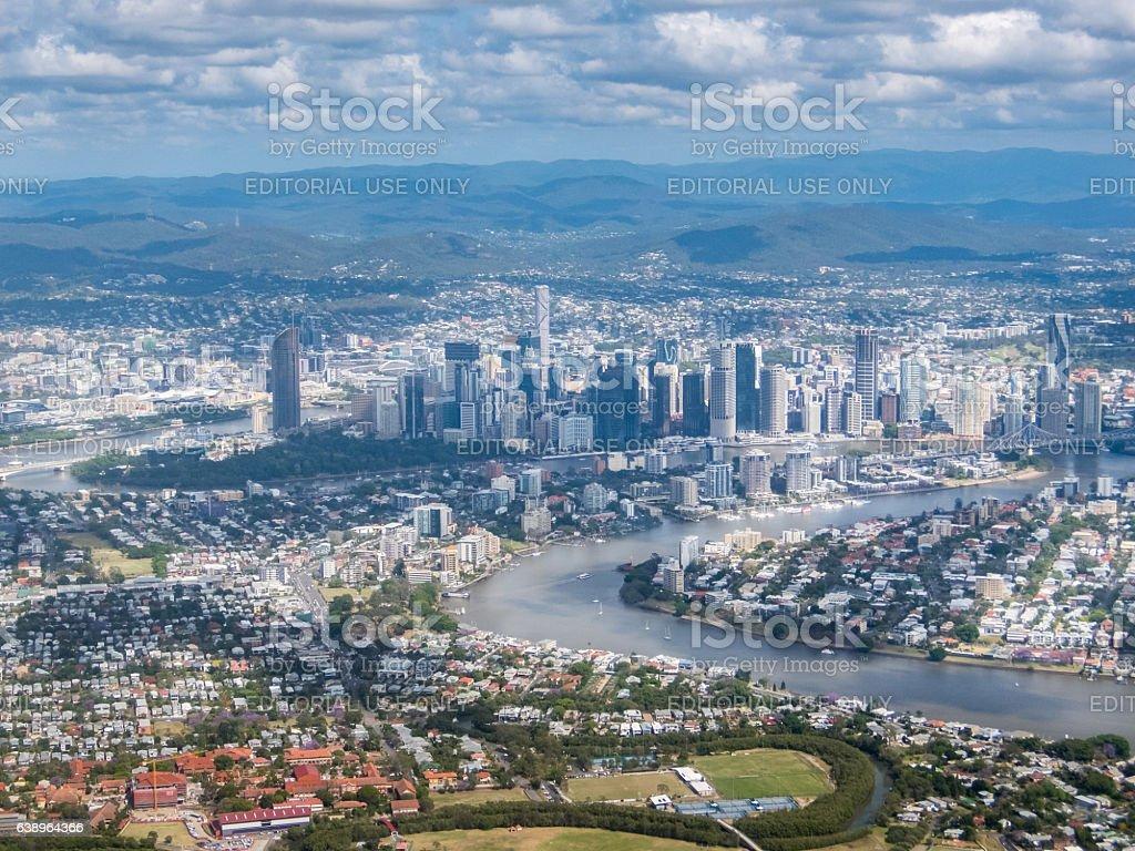 Aerial view of Brisbane CBD stock photo