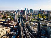 Aerial view of Brooklyn and Manhattan bridge in New York city