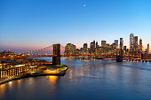 High angle view of Brooklyn Bridge, East River, and Lower Manhattan Skyline illuminated at twilight, HDR image.
