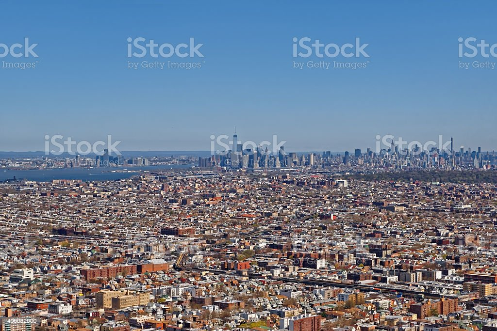 Aerial view of Brooklyn with Lower Manhattan skyscrapers stock photo