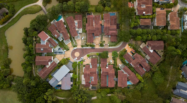 Aerial view of brown pitched roofs stock photo
