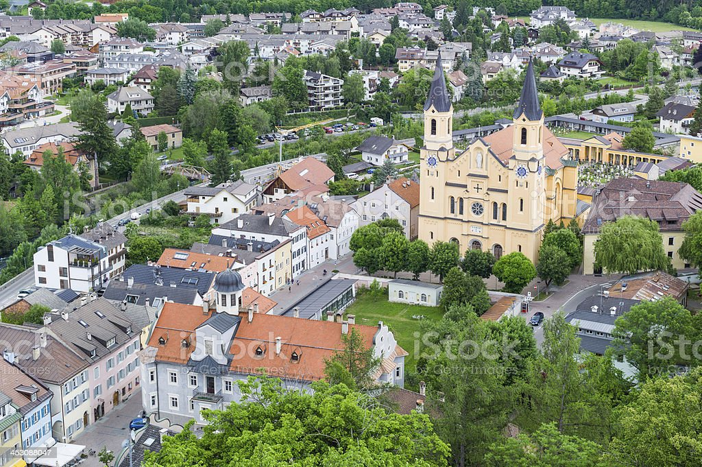 Aerial view of Bruneck (Brunico) in Sudtirol stock photo