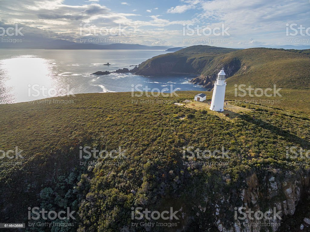Aerial view of Bruny Island Lighthouse at sunset. Tasmania. stock photo