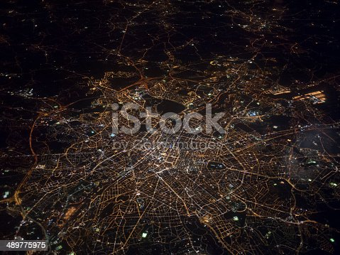istock Aerial view of London at night 489775975
