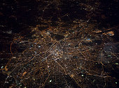 Aerial view of Brussels at night