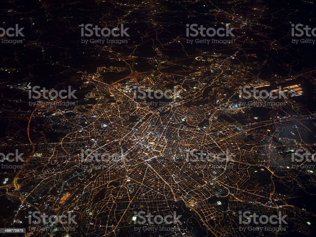 Aerial view of London at night stock photo
