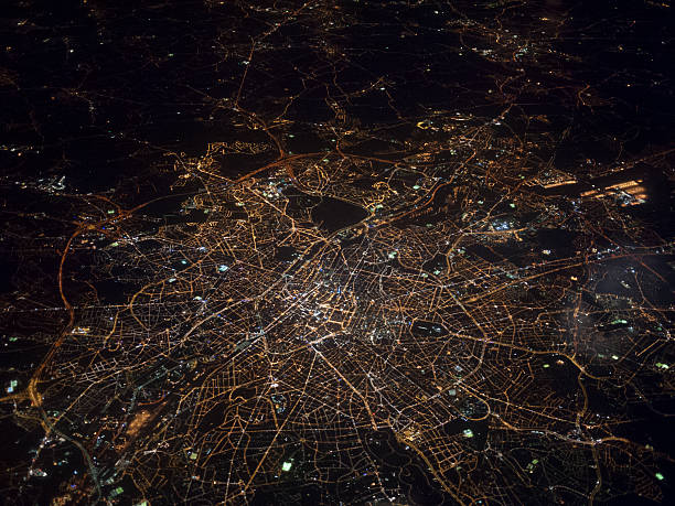 Vue aérienne de Londres de nuit - Photo