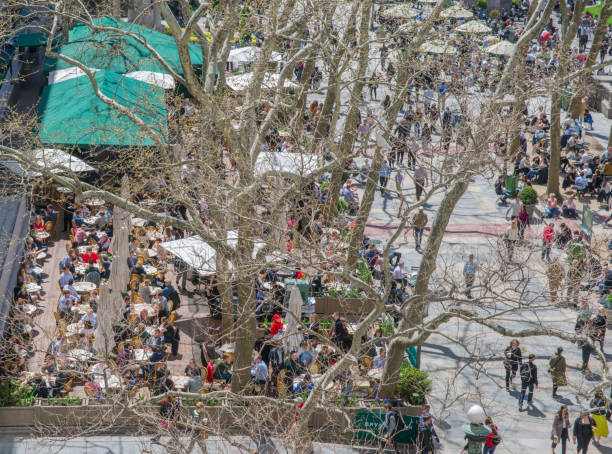 Aerial View of Bryant Park Cafe Showing People Dinning