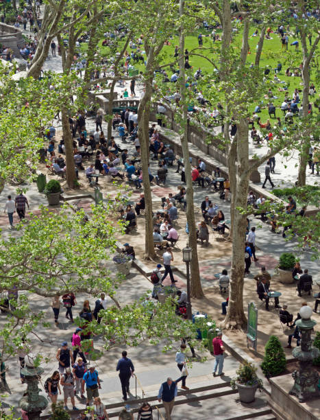 Aerial View of Bryant Park East Terrace on a Clear Spring Day