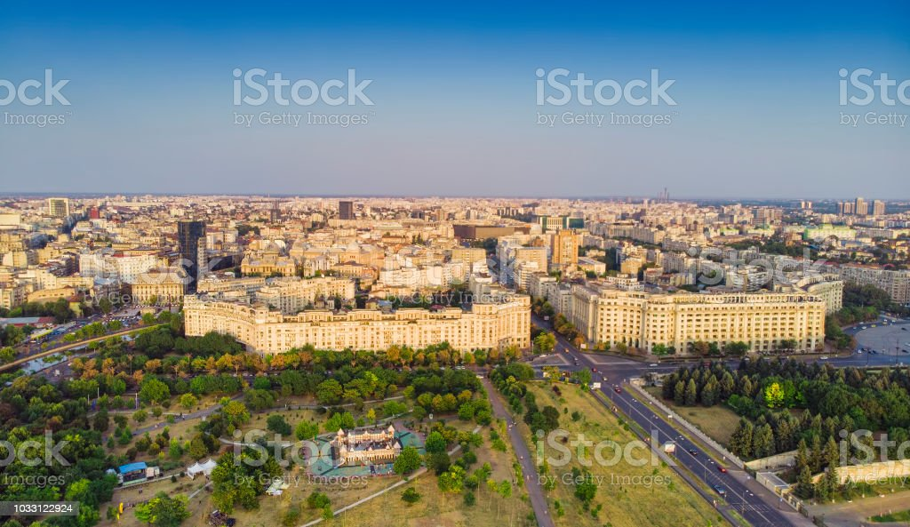 Aerial view of Bucharest city stock photo