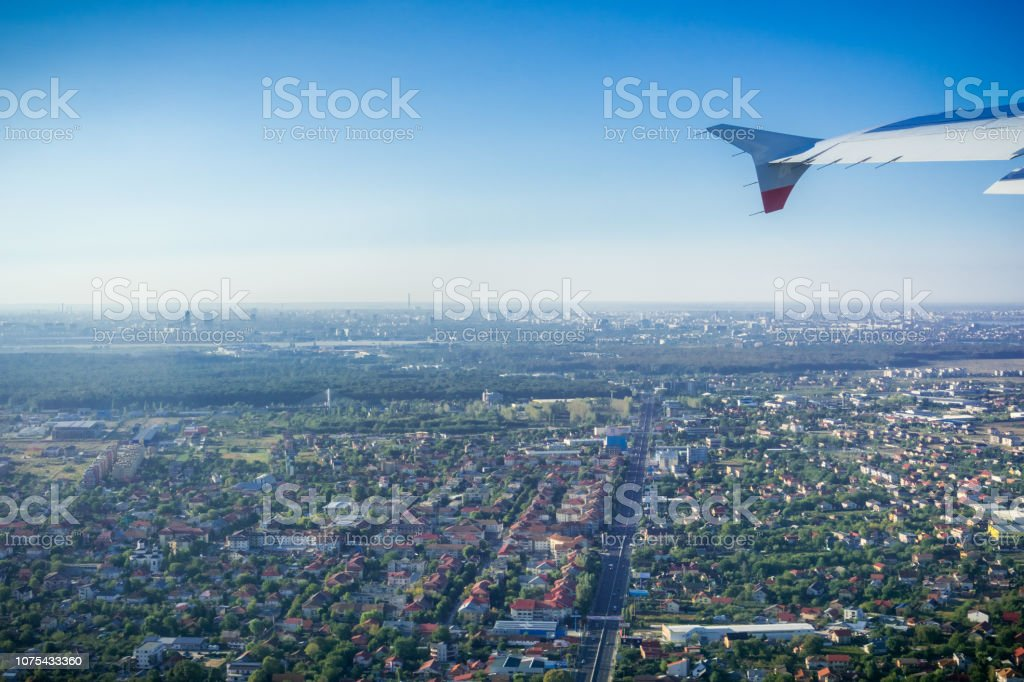 Aerial view of Bucharest suburbs stock photo