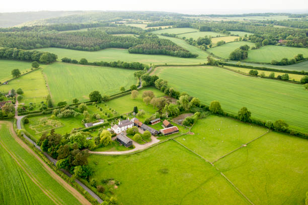 Aerial view of Buckinghamshire Landscape Aerial view of Buckinghamshire Landscape - United Kingdom - Hot air balloon aerial photography buckinghamshire stock pictures, royalty-free photos & images