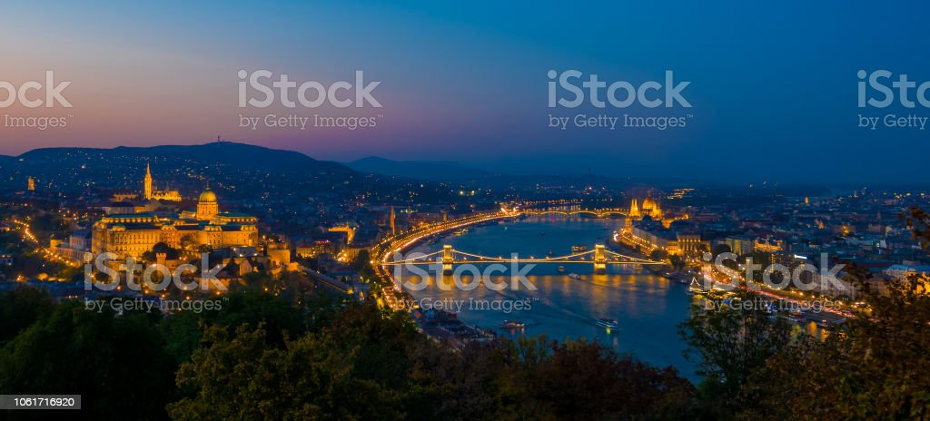 Aerial view of Budapest, Hungary by evening. Buda castle, Chain bridge and Parliament building stock photo