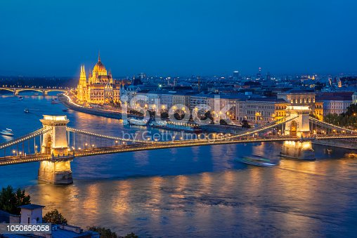 Aerial view of Budapest parliament and Chain bridge over Danube river at night, Hungary