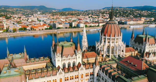 Aerial view of Budapest with Hungarian parliament building  in Hungary stock photo