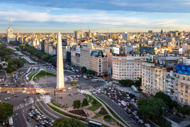 Aerial view of Buenos Aires and 9 de julio avenue - Buenos Aires, Argentina stock photo