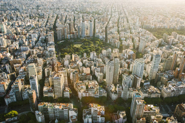 Aerial view of Buenos Aires, Argentina Urban Skyline of Buenos Aires, Palermo District. Argentina stock pictures, royalty-free photos & images
