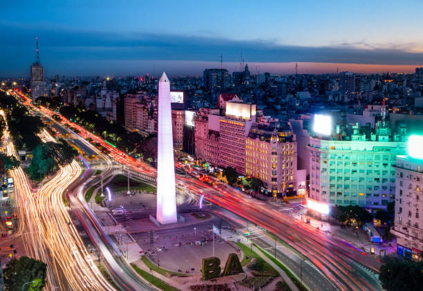 Aerial view of Buenos Aires city with Obelisk and 9 de julio avenue at night - Buenos Aires, Argentina stock photo