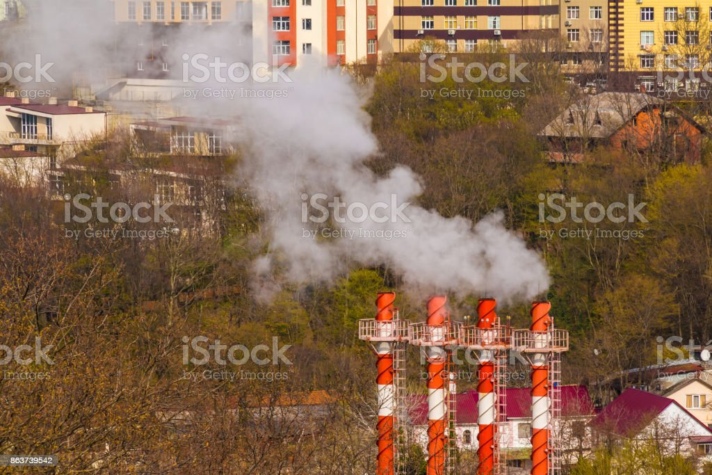 Aerial view of buildings and chimneys, Sochi, Russia stock photo