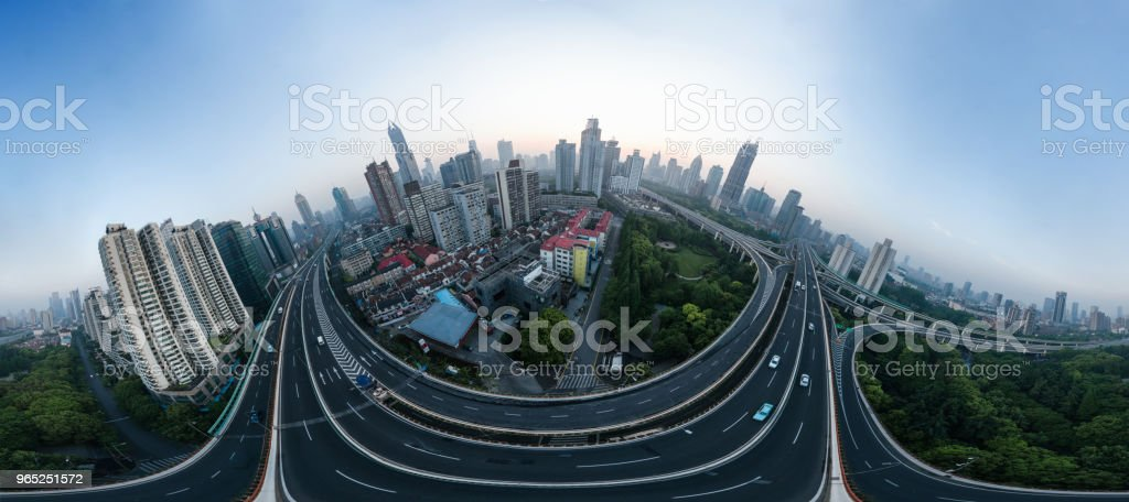 aerial view of buildings and highway of shanghai city in foggy dawn royalty-free stock photo