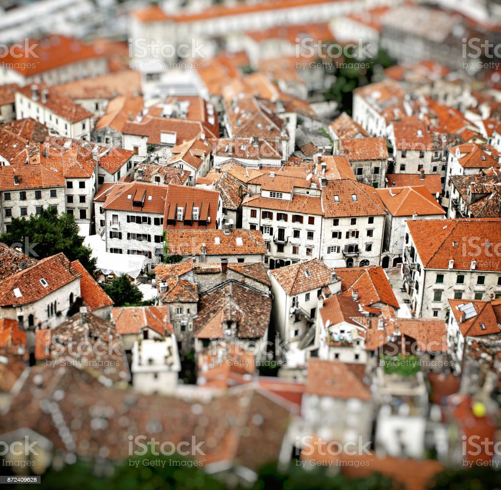 Aerial view of buildings in Kotor old town, Montenegro stock photo