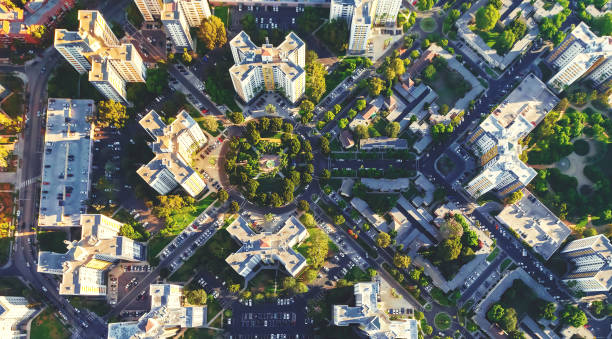 Aerial view of buildings on near Wilshire Blvd in Westwood, LA stock photo