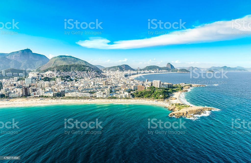 Aerial view of buildings on the Copacabana Beach stock photo