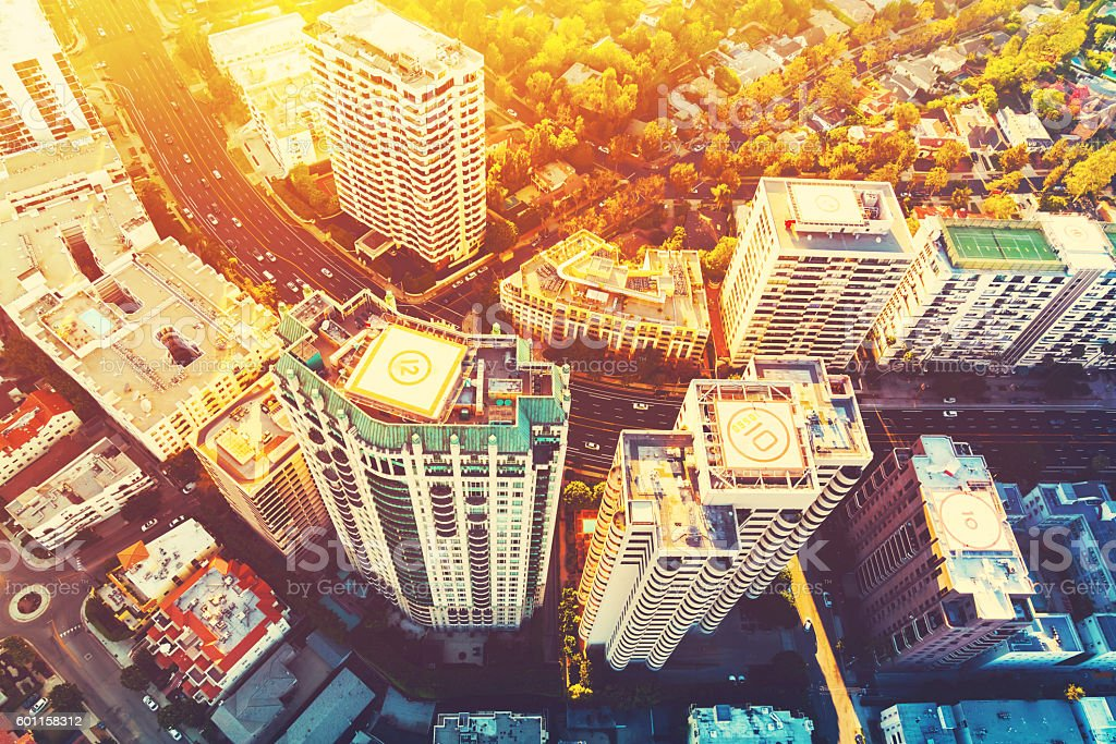 Aerial view of buildings on Wilshire Blvd in LA stock photo
