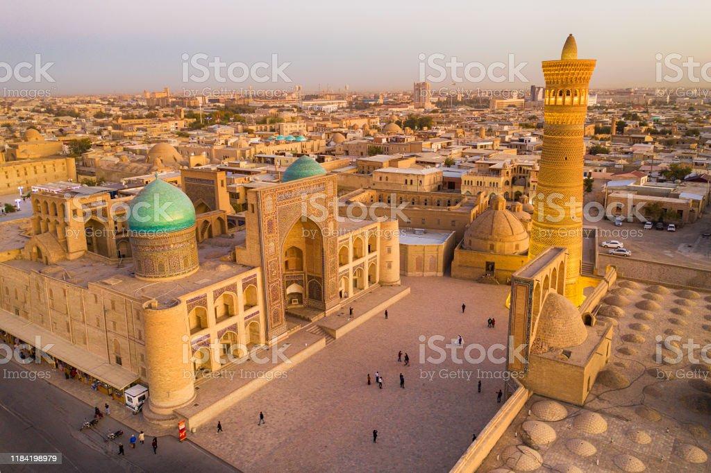 Luchtfoto van Bukhara, historische Zijderoute, Oezbekistan - Royalty-free Antiek - Toestand Stockfoto