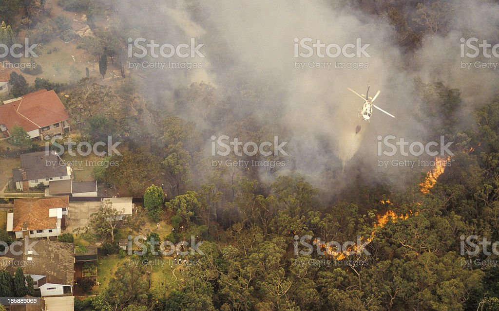 Aerial view of bush fire in Sydney, Australia stock photo