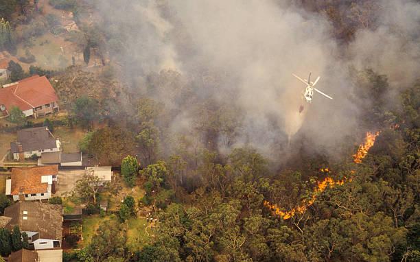 aerial view of bush fire in sydney, australia - bosbrand stockfoto's en -beelden