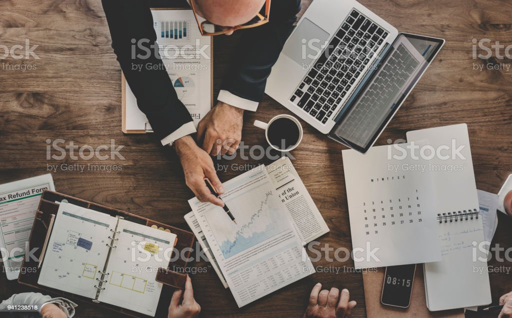 Aerial view of business data analysis graph stock photo