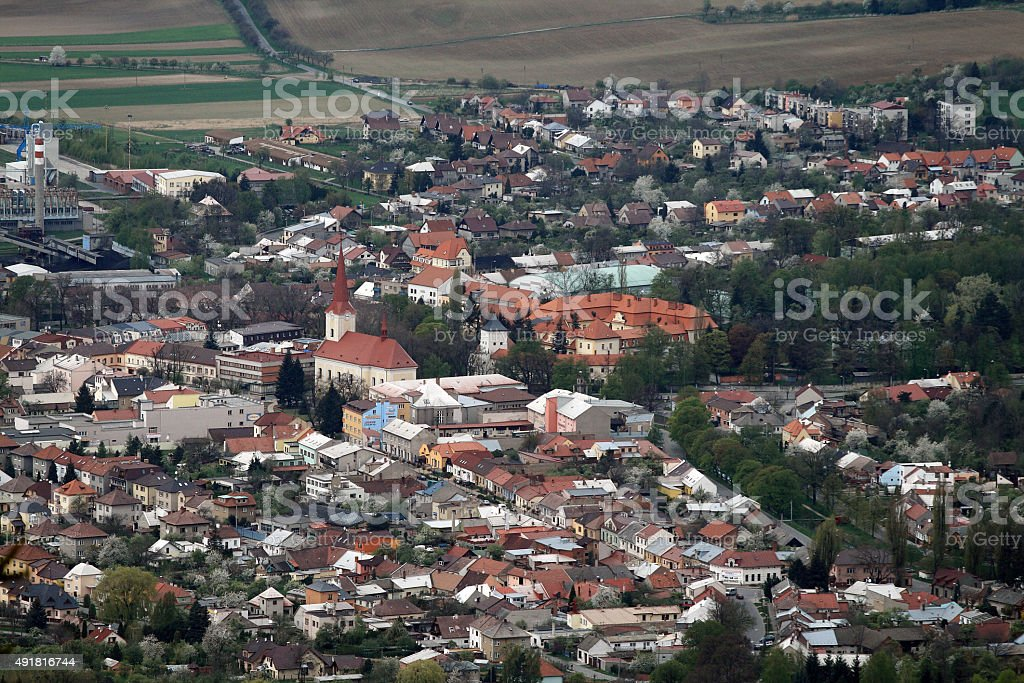 Aerial View of Bystrice pod Hostynem Town stock photo