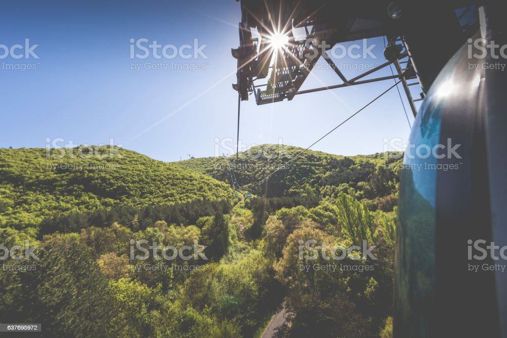 Aerial view of cable car on Vodno mountain and stock photo