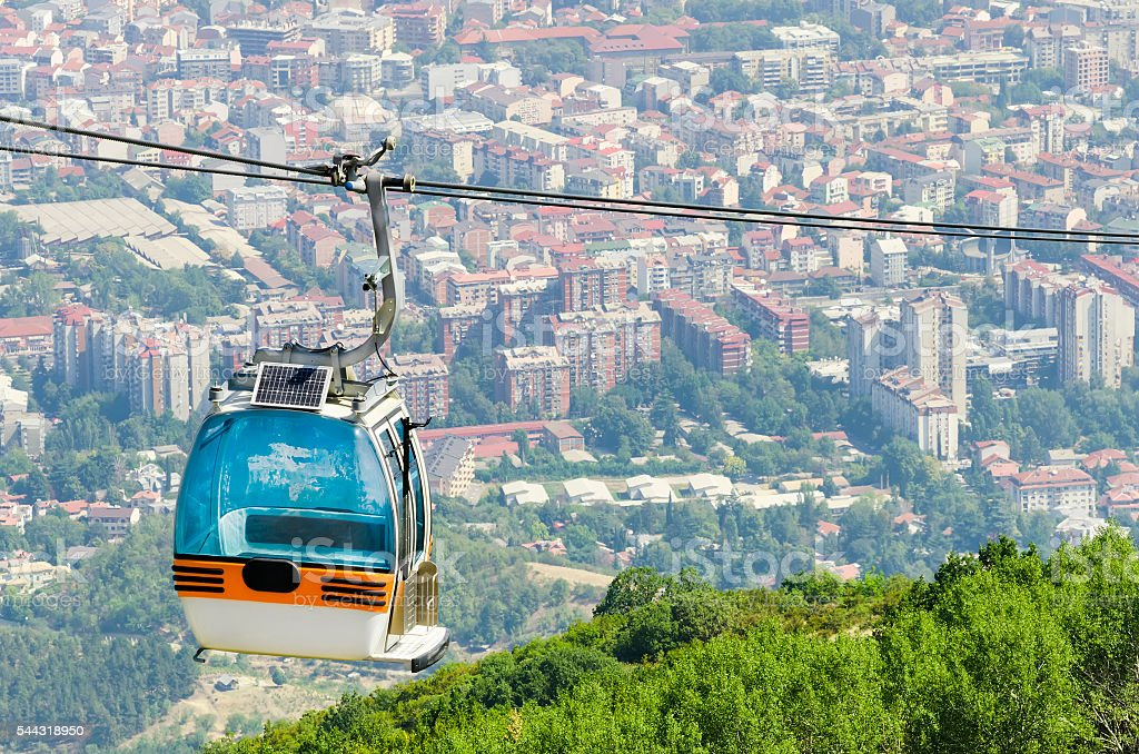 Aerial view of cable car on Vodno mountain in Skopje stock photo
