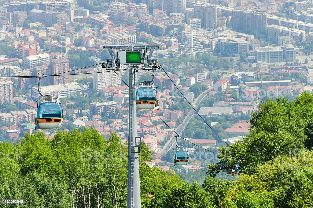 Aerial view of cable car stock photo