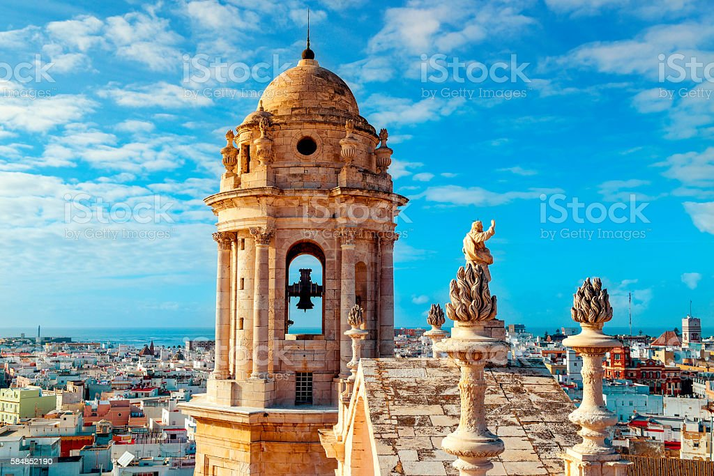 aerial view of Cadiz, Spain stock photo