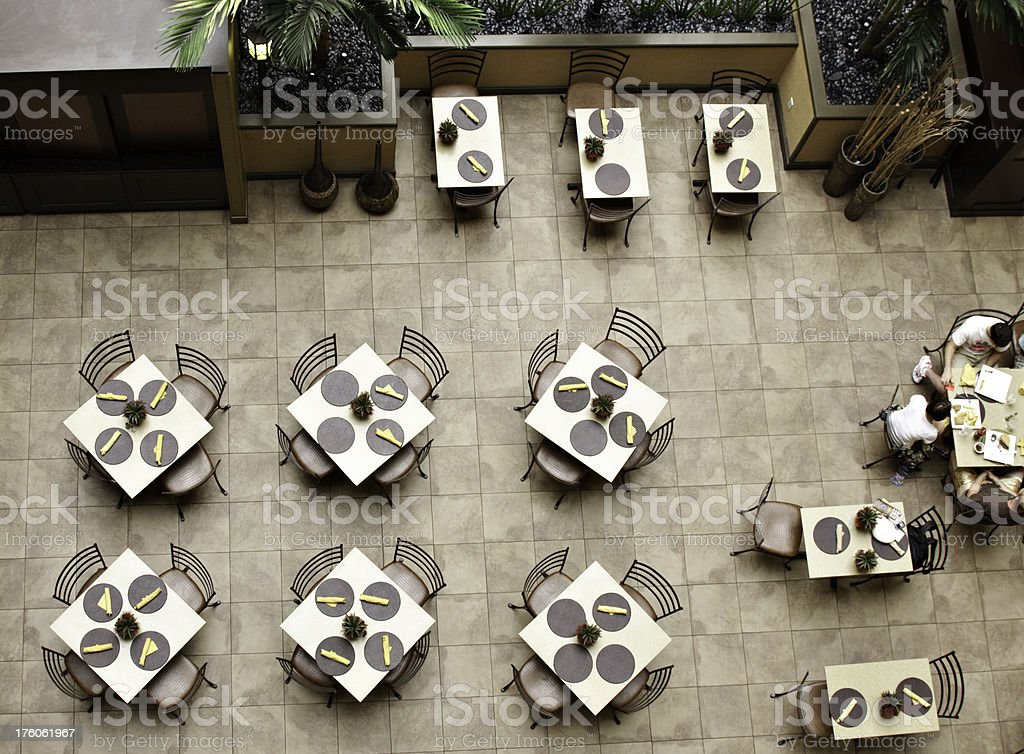Aerial View of Cafeteria stock photo