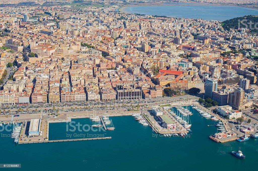 Aerial view of Cagliari harbor - foto de acervo