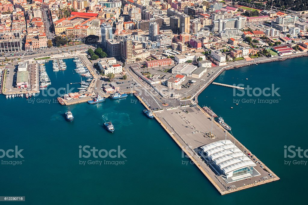 Aerial view of Cagliari harbor - foto de acervo