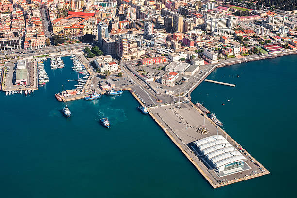 Aerial view of Cagliari harbor stock photo