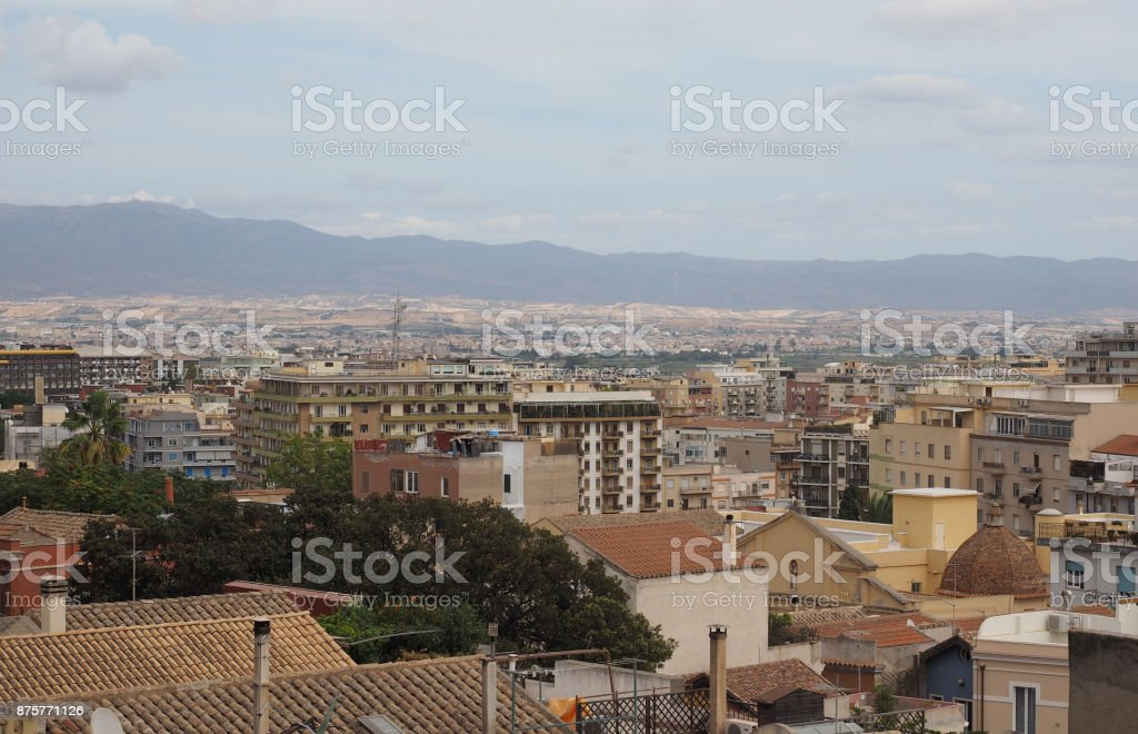 Aerial view of Cagliari (hdr) stock photo